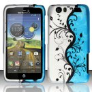 Hard Rubber Feel Design Case for Motorola Atrix HD 4G LTE MB886 (AT&T) - Blue Vines
