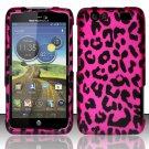 Hard Rubber Feel Design Case for Motorola Atrix HD 4G LTE MB886 (AT&T) - Pink Leopard