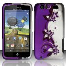 Hard Rubber Feel Design Case for Motorola Atrix HD 4G LTE MB886 (AT&T) - Purple Vines