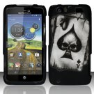 Hard Rubber Feel Design Case for Motorola Atrix HD 4G LTE MB886 (AT&T) - Spade Skull