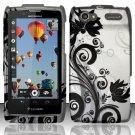 Hard Rubber Feel Design Case for Motorola Electrify 2 XT881 - Black Vines