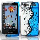 Hard Rubber Feel Design Case for Motorola Electrify 2 XT881 - Blue Vines