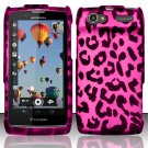Hard Rubber Feel Design Case for Motorola Electrify 2 XT881 - Pink Leopard
