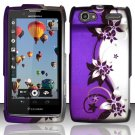 Hard Rubber Feel Design Case for Motorola Electrify 2 XT881 - Purple Vines
