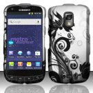 Hard Rubber Feel Design Case for Samsung Galaxy S Lightray 4G R940 (MetroPCS) - Black Vines