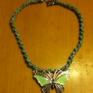 Aqua Macrame necklace with Butterfly