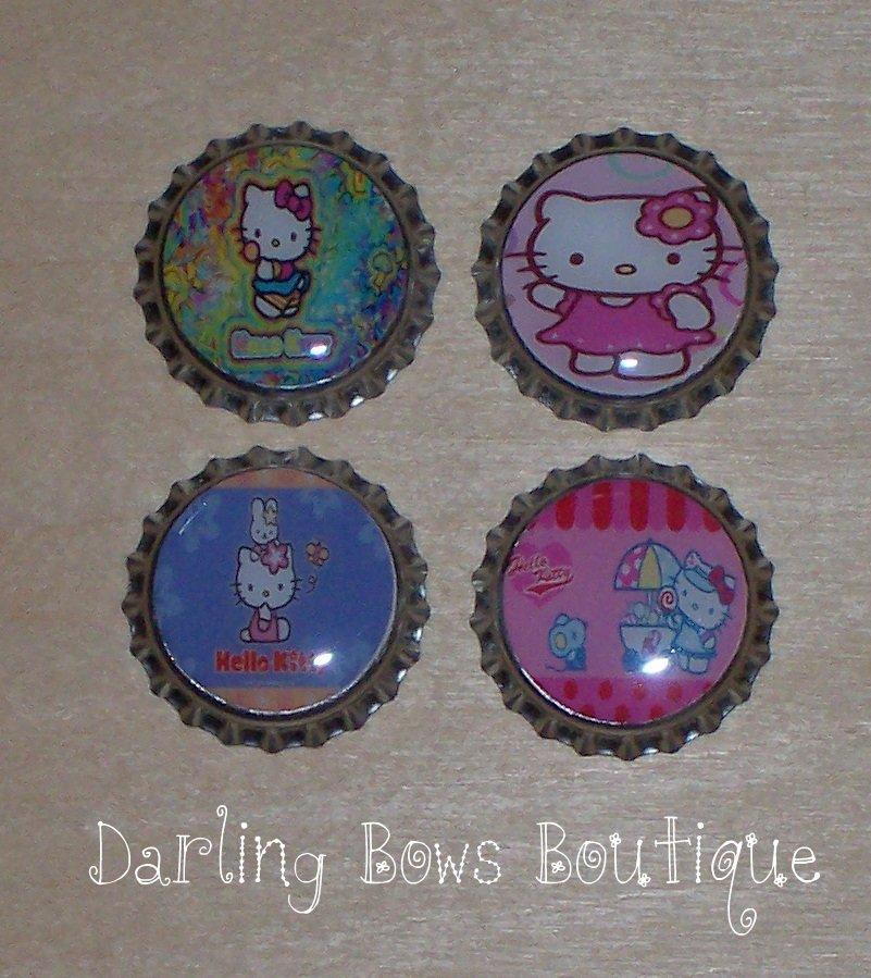Set of 4 Hello Kitty Bottle Caps