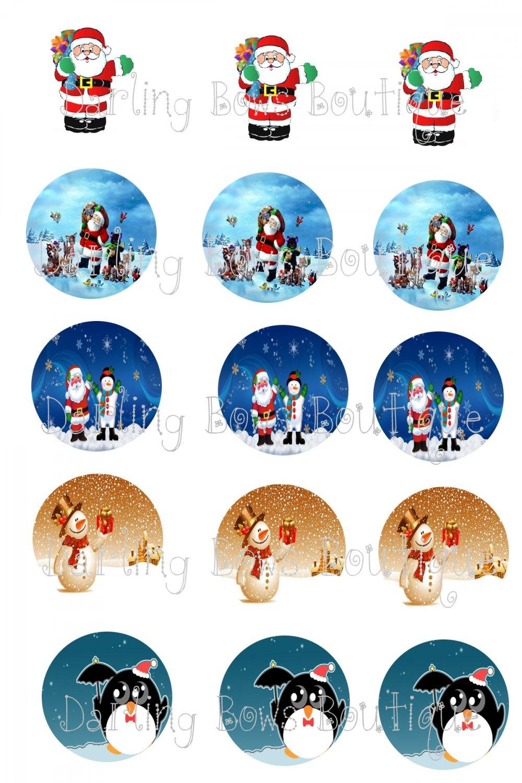 Christmas Bottle Cap Image Sheet -- 4X6 -- Digital