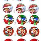 Dora Christmas Bottle Cap Image Sheet -- 4X6 -- Digital