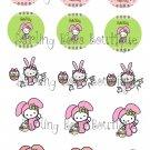 Hello Kitty Easter Bottle Cap Image Sheet -- 4X6 -- Digital
