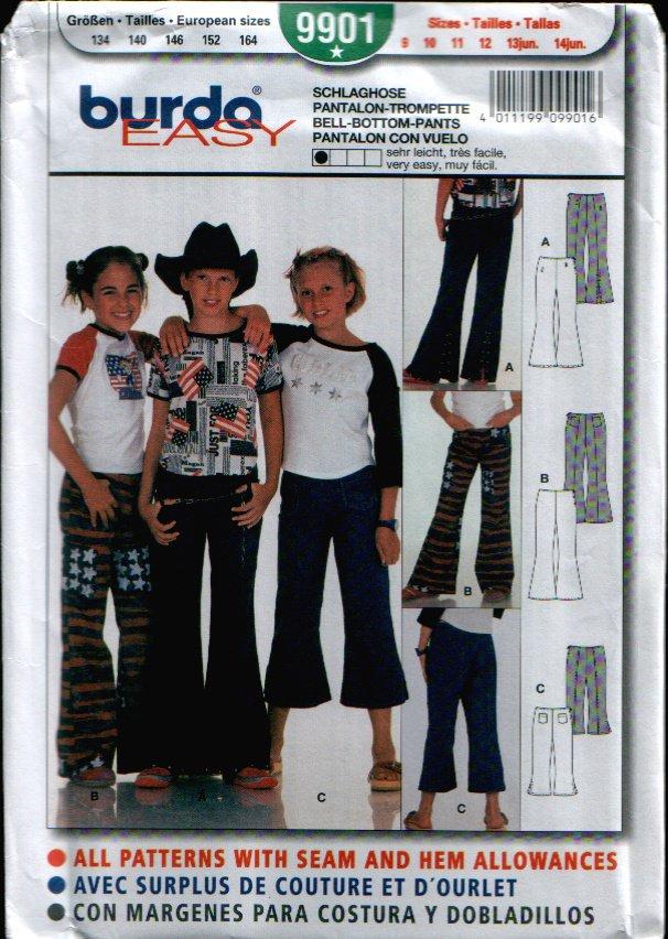 Childern's Bell-Bottom-Pants Pattern Uncut. Sizes: 9, 10, 11, 12, 13jun, 14jun Burda 9901 Burda 9901