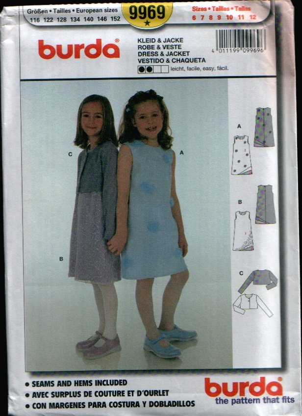 Childern's Dress & Jacket Pattern Uncut. Sizes: 6, 7, 8, 9, 10, 11, 12 Burda 9969