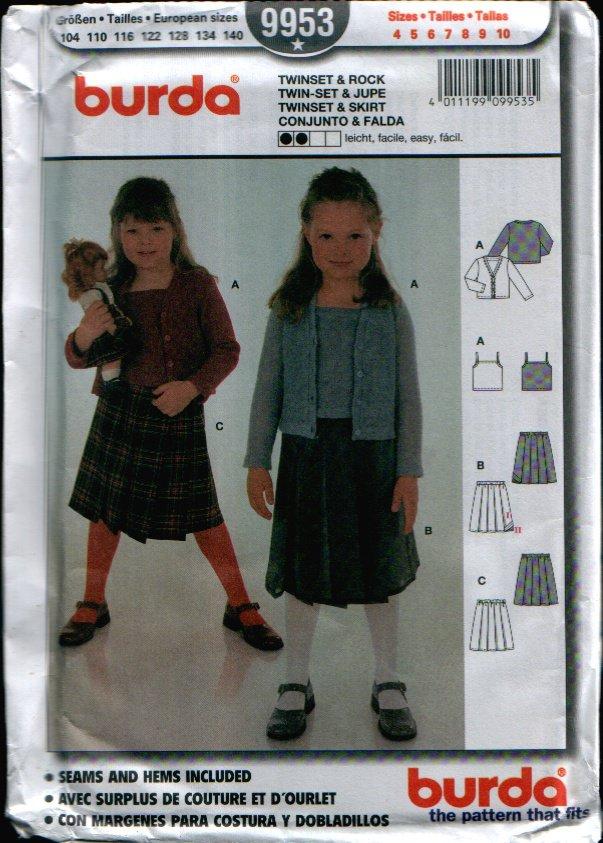 Childern's Twinset & Skirt Pattern Uncut. Sizes: 4, 5, 6, 7, 8, 9, 10 Burda 9953