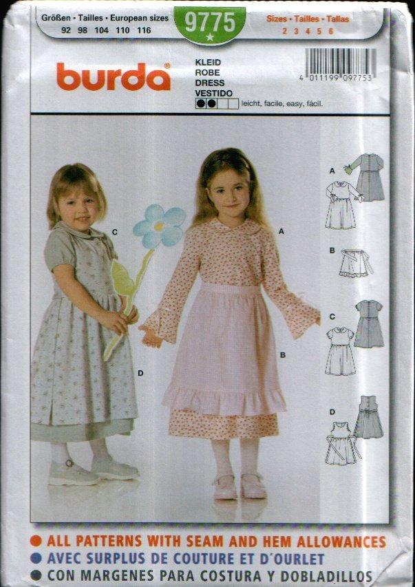 Childern's Dress Pattern Uncut. Sizes: 2, 3, 4, 5, 6 Burda 9775