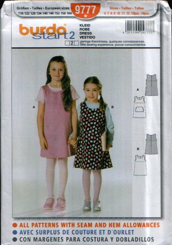 Childern's Dress Pattern Uncut. Sizes: 6, 7, 8, 9, 10, 11, 12, 13jun, 14jun Burda 9777