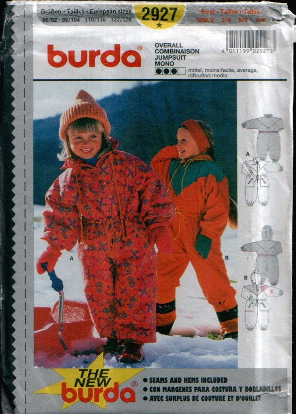 Childern's Snow Suit Pattern Uncut. Sizes: 18M/2, 3/4, 5/6, 7/8 Burda 2927