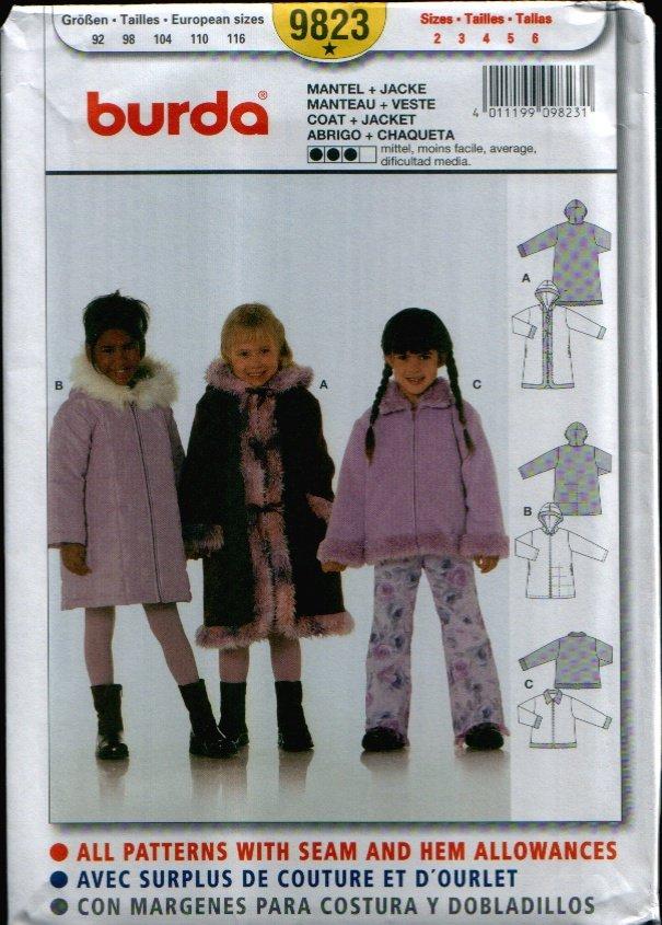 Childern's Coat + Jacket Pattern Uncut. Sizes: 2, 3, 4, 5, 6 Burda 9823