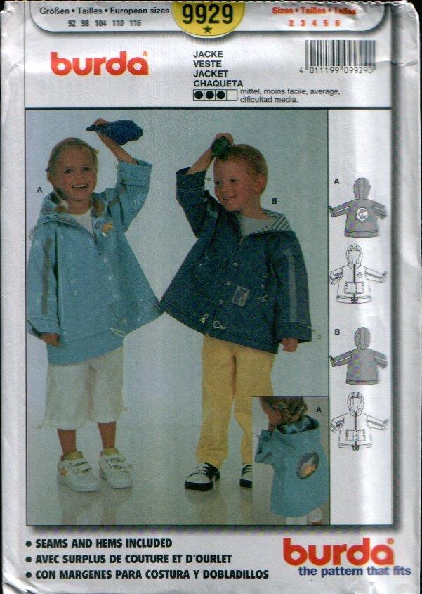 Childern's Jacket Pattern Uncut. Sizes: 2, 3, 4, 5, 6 Burda 9929