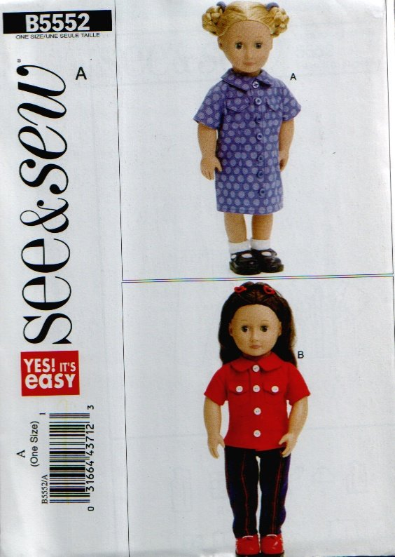 "18"" Doll Dress & Shirt Clothes Pattern Uncut. See & Sew B5552"