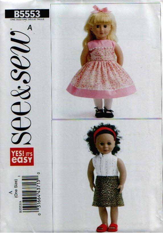 "18"" Doll Dress & Top Clothes Pattern Uncut. See & Sew B5553"