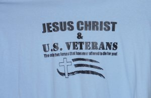 JESUS CHRIST AND U.S. VETERANS SMALL T SHIRT