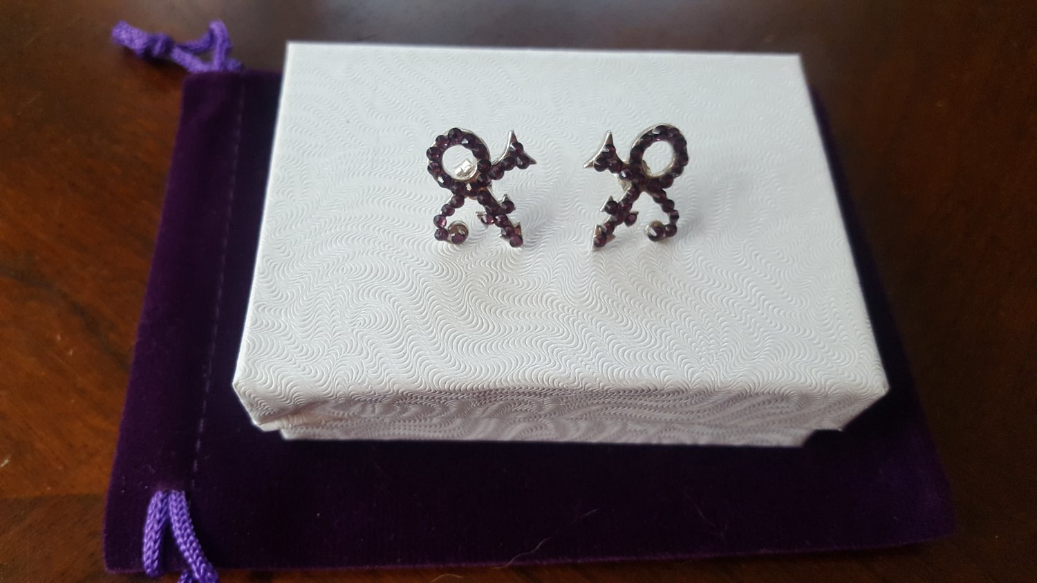 Prince Symbol Earrings with Purple Swarovski Crystals - 100% Sterling silver