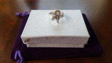 Prince Symbol Ring with Swarovski Crystals - 100% Sterling Silver