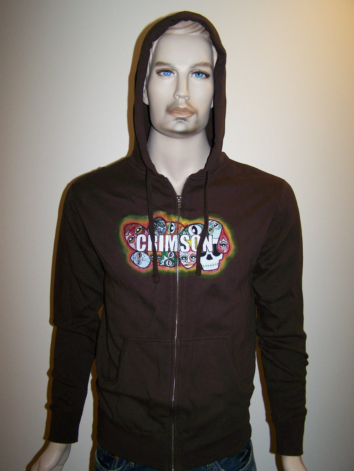 CRIMSON - Brown Zip Hoodie - Small