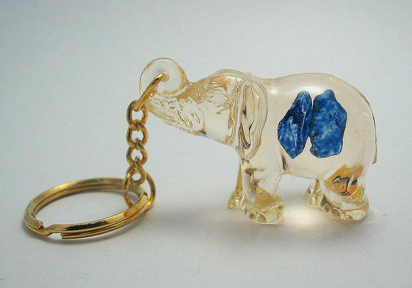 elephant shape natural gemstone keychain