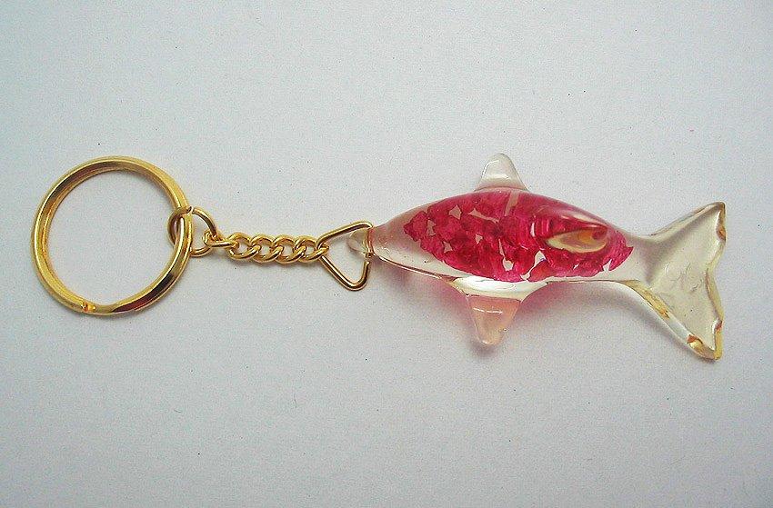 dolphin shape natural gemstone keychain