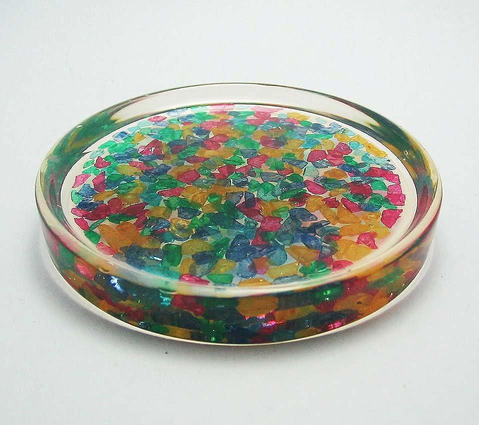 set 6 of natural gemstone glass saucer