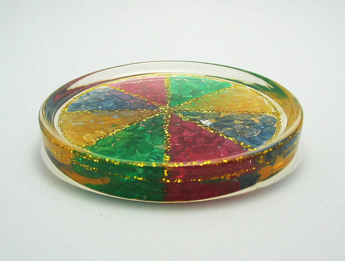 set 6 of mixed color natural gemstone glass saucer