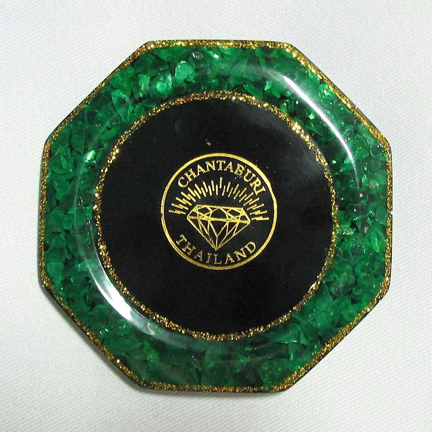 set 6 of natural gemstone glass saucer with gemstone picture