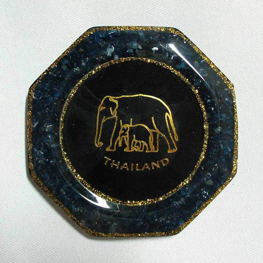 set 6 of natural gemstone glass saucer with elephant picture