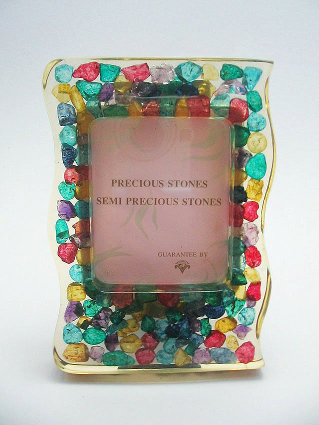 small natural gemstone photo frame, picture frame