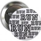 "run (white) 1.25"" pinback button pin / badge (g3)"