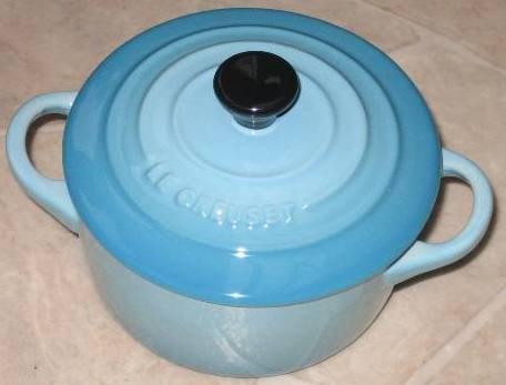 """Le Creuset Stoneware Mini Cocotte Blue round 2"""" - 8 ounce"""