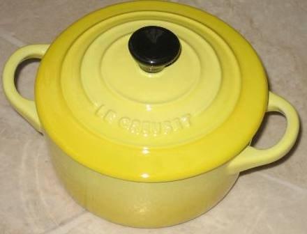"Le Creuset Stoneware Mini Cocotte Yellow round 2"" - 8 ounce"