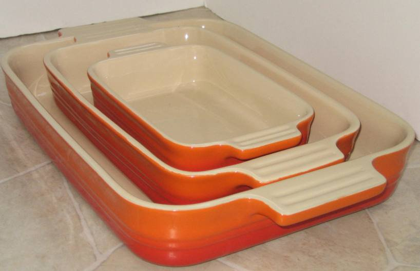 Le Creuset Stoneware Gift Set, 3 Piece, rectangular oven dishes Volcanic NEW