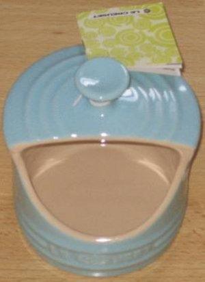 Le Creuset Stoneware 10-Oz. Stoneware Salt Crock Satin Blue NEW
