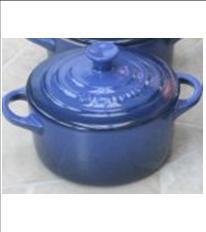 """Le Creuset Mini Cocotte round BLUE 2"""" - 8-ounce - 2 NEW"""