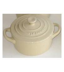"Le Creuset Mini Cocotte round ALMOND 2"" - 8-ounce - 2 NEW"