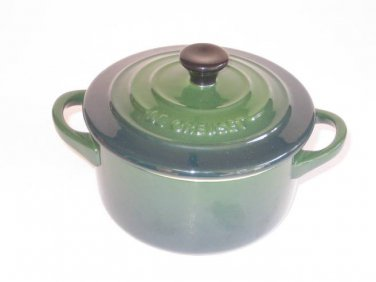 "Le Creuset Mini Cocotte round Classic Racy Green  2"" - 8-ounce - 2 NEW"