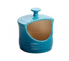 Le Creuset Stoneware 10-Oz. Stoneware Salt Crock BLUE teal NEW