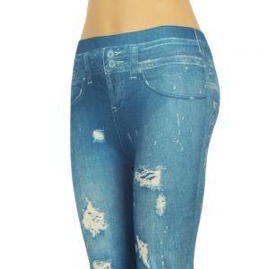 Worn Jean Style Leggings Blue