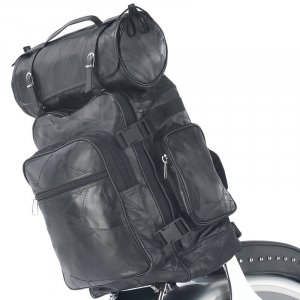 3 Pc. Leather Motorcycle Bag Set