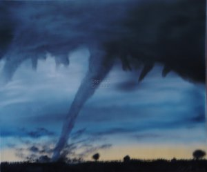 Original Landscape Tornado Oil Painting On Pre Stretched Canvas