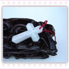 Natural white jade pendant cross of Christ. Hand-carved jade pendant. 48x24x5mm.