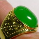 Natural emerald ring. Green jade ring surface. Successful men's choice.