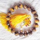 Natural Yellow Tiger Eye. 10mm beads. 19 hand-carved tiger eye stone bracelet